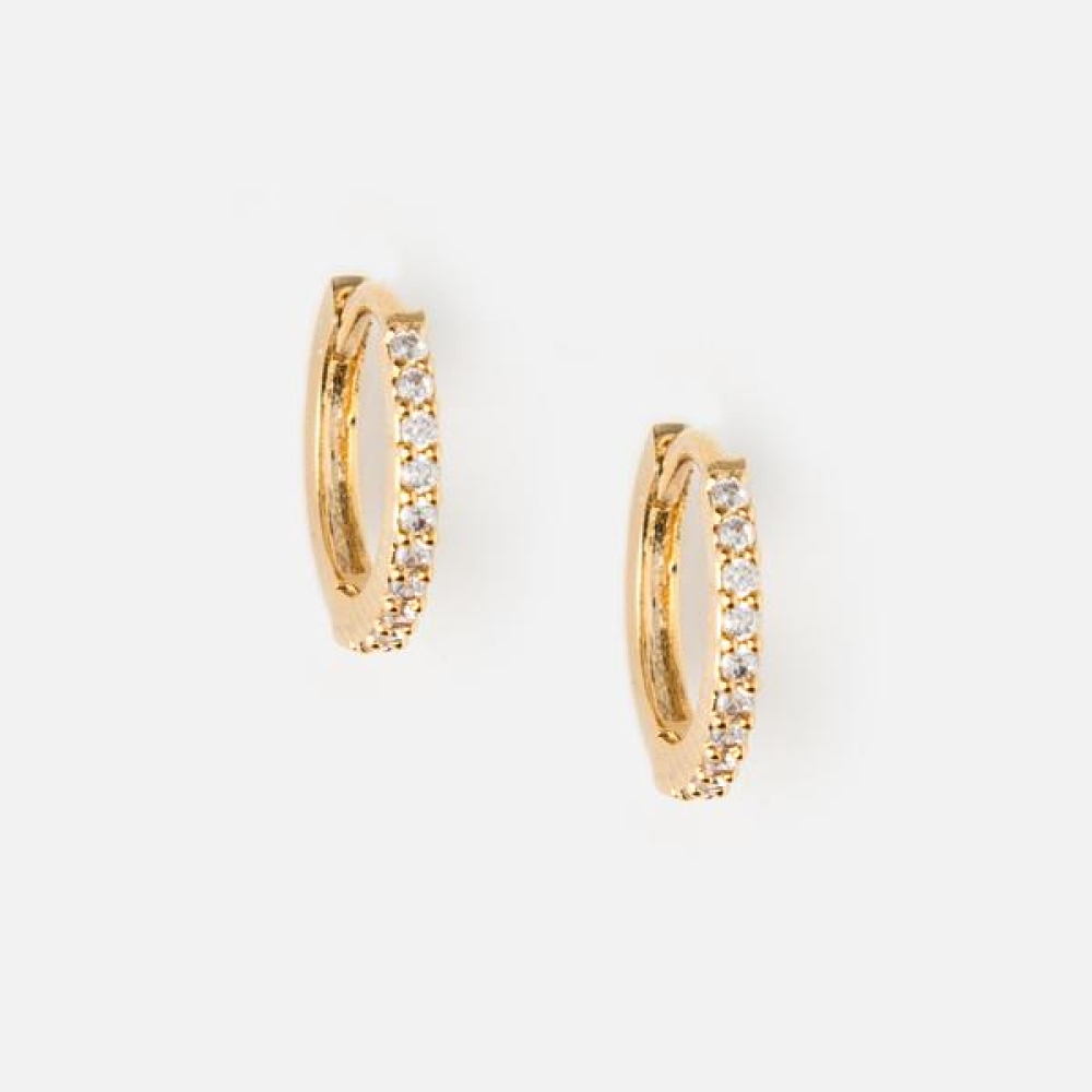 ORELIA MINI PAVE HOOP EARRINGS ORE22704